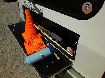 Must haves for all trips -Collapsible Orange Safety Cones and Water Filter Purifier.