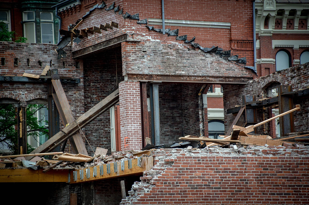 . Back of the Rialto building in Lowell being torn down. SUN/Caley McGuane