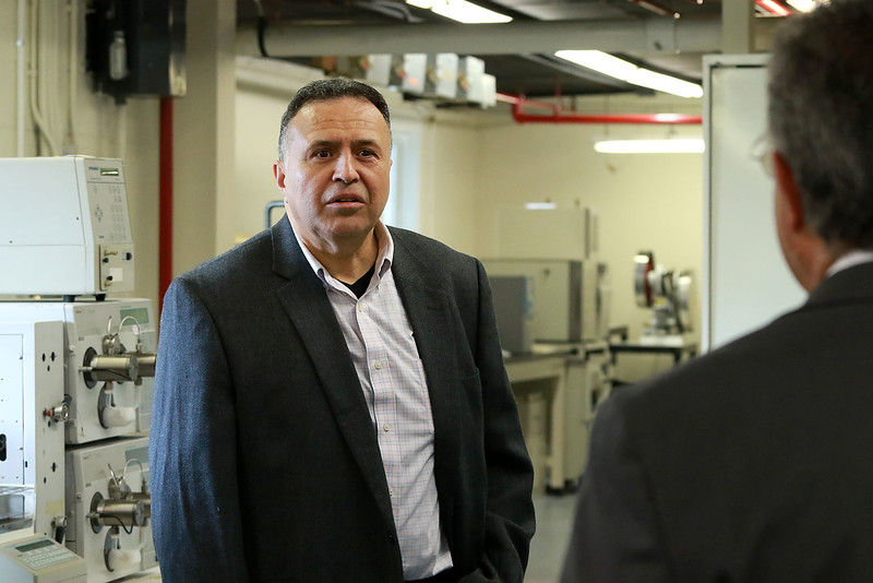 A ribbon cutting for the new Leominster business Landrau Scientific Innovations was held on Thursday at noon, June 28, 2018. Leominster Mayor Dean Mazzarella, on right, chats with Landrau President/CEO Nelson Landrau about his business as they took a tour of the place. SENTINEL & ENTERPRISE/JOHN LOVE