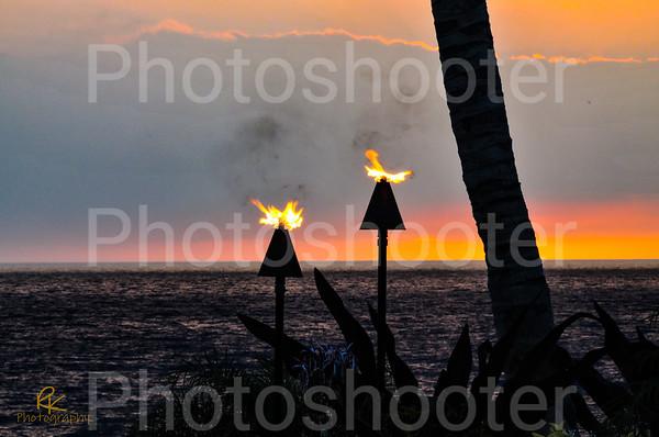 Tiki Torches at Sunset