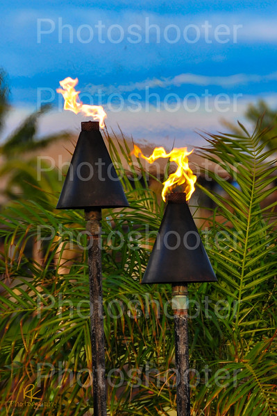 Tiki Torches just before sunset