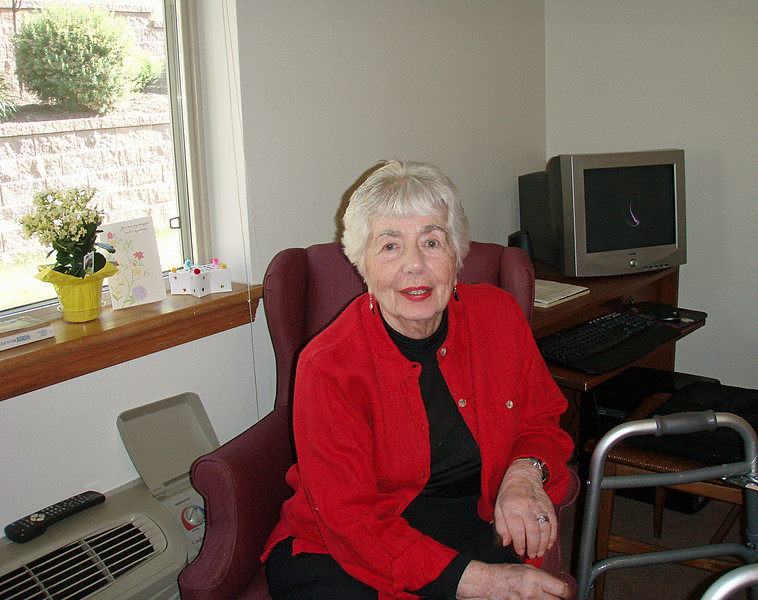 Here's Marjorie relaxing in her suite at Maple Shade Meadows.