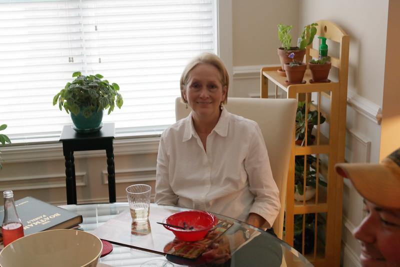 Linda Lieser Enjoys After Lunch Conversation