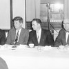 Then-Sen. John F. Kennedy, second from left, received two standing ovations at the Knights of Columbus in Lowell in 1957, at the mention that Kennedy should be the next president of the United States. Sitting with Kennedy were, from left, Richard Donahue, who would later work for Kennedy in the White House; Charlie Santos, K of C grand knight and later Lowell's postmaster; and Deputy Grand Knight John McLaughlin.	PHOTO COURTESy of PAT NICKLES