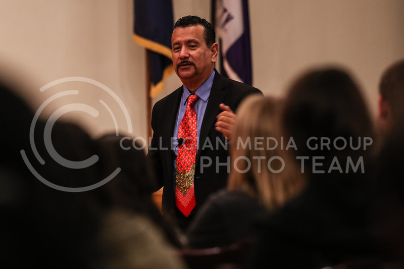 Richard Montañez gives an inspirational speech about his 'Rags to Riches' life story, and how he invented Flamin' Hot Cheetos, at the Kansas State University Student Union on November 13th, 2017. (Photo by Cooper Kinley | Collegian Media Group)