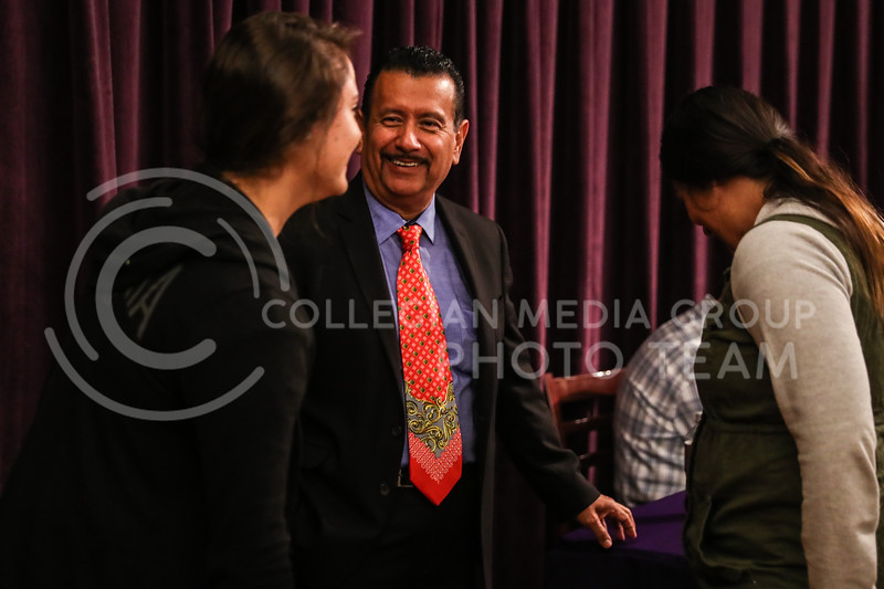 Richard Montañez talks with students, after giving his speech, at the Kansas State University Student Union on November 13th, 2017. (Photo by Cooper Kinley | Collegian Media Group)