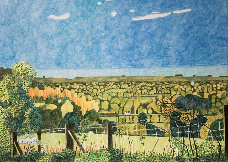 Richard Pelham - Landscapes - Early Autumn - West Berkshire - Watercolour