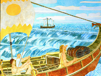 The Moral of the Story - Odysseus at Sea, The morning after the storm     blown off course  - by Richard Pelham