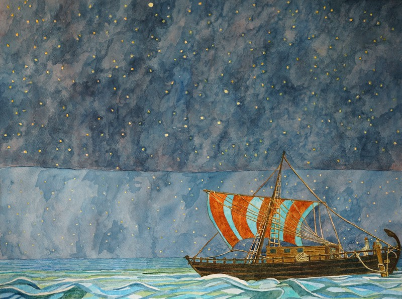 Moral of the Story - Carthaginian Sailors seek accurate advce to secure their passage - Carthaginian ship - 50 bc Going to Cornwall