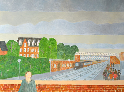 Newbury Scapes -The Railway Station, Market Square, looking from the bridge - by Richard Pelham