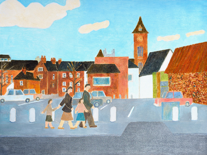 Newbury Scapes - In front of the Library looking West- by Richard Pelham