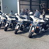 ROLLING MOTORCADE WICOMICO MOTORCYCLES FOR RICHARD PETTY W/ CAROLINE SHERIFF SUV IN BACKGROUND