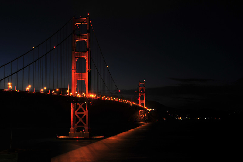 The Golden Gate around midnight