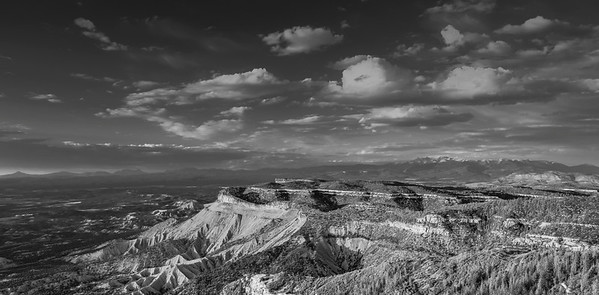 This is Sunset over Mesa Verde National Park. Originally a color photo I converted to B&W. It seems to work better as a B&W.