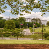 Riverfront Canal Walk, a 1.25 mile route between 5th St & 17th St along N side of James River & the Haxall & Kanawha canals just N of river; much of route is on Brown's Island, manmade island created by caanal digging, starting 1789; Canal Walk provides views of Richmond skyline & of James River near fall line (Falls of the James); monuments & historic markers are found along route; New Market Corp office S 4th & Byrd Sts; parent company of Ethyl Corp & Afton Chemical; taken from W end of Brown's Island, looking across to 5th St