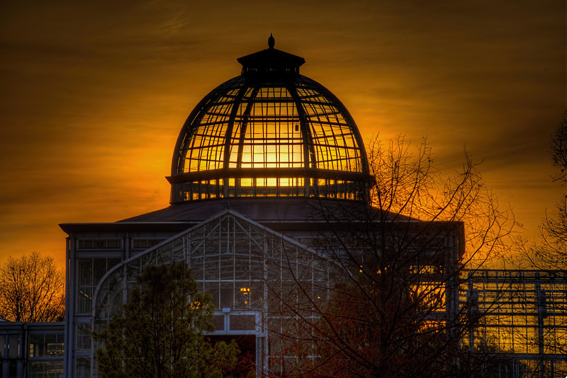 Deep Orange Sunset through Conservatory Domejpg