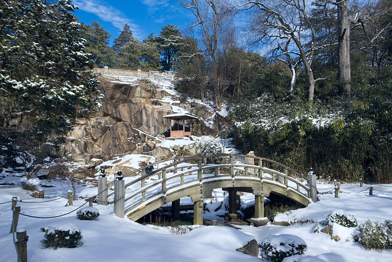 Arched Bridge in the Japanese Garden covered in Snow