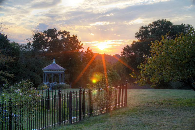 Red Rood Gazebo and Sunset