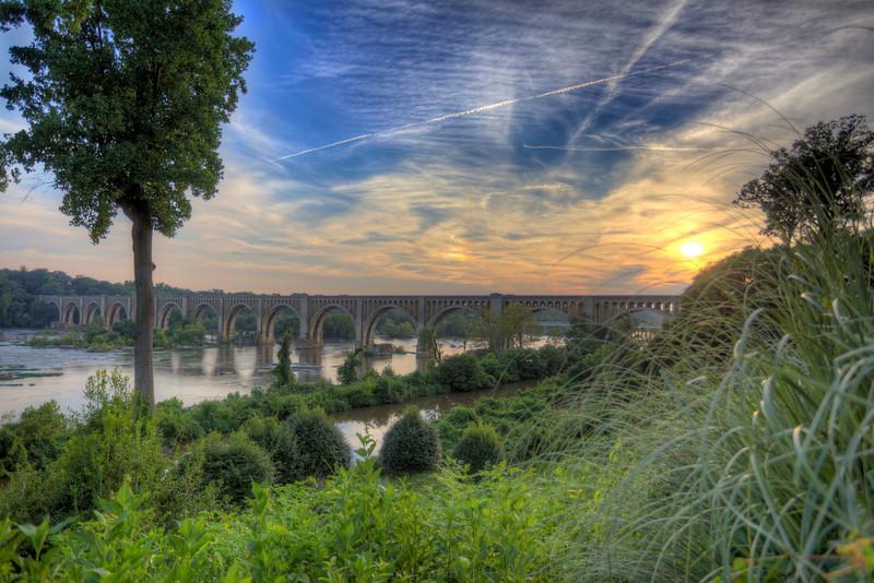 James River Train Bridge, Blue Sky and Sunset
