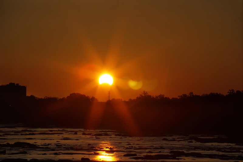 Partial Solar Eclipse Sun Rise over the James