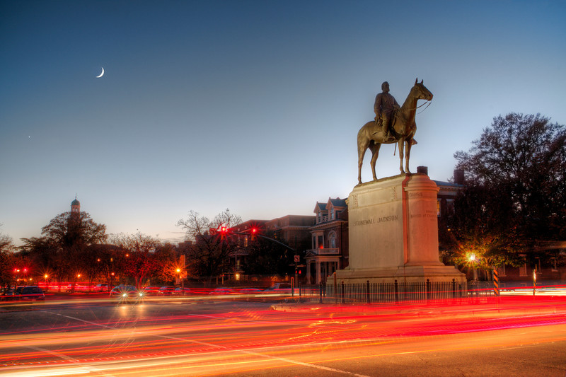 Stonewall Jackson at night with the crescent moon