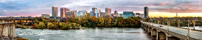 Richmond on the James River at Sunrise - high resolution panorama