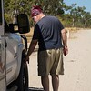 Checking tire temperatures.