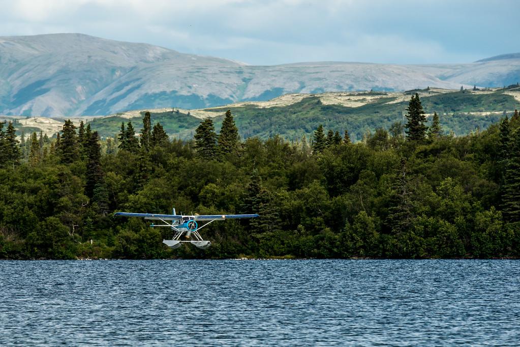 Float plane lands at Lake Illiamna