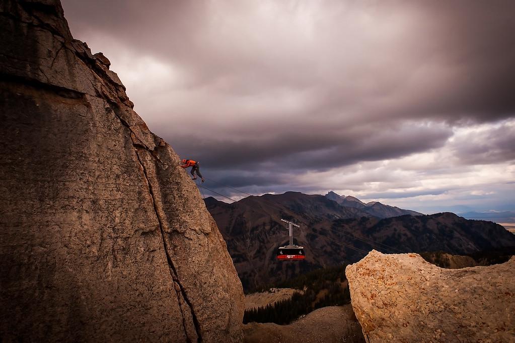 Climber and Teton Village Tram