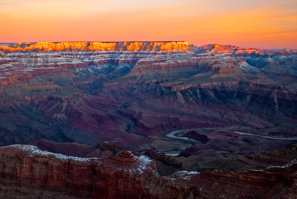 first light filling the grand canyon