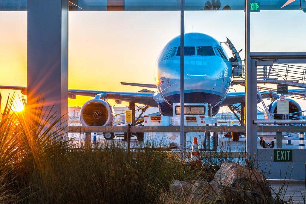 waiting plane at sunset