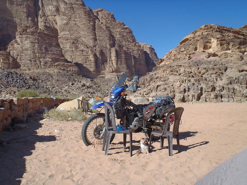 Checking valves with cat's help. Wadi Rum.