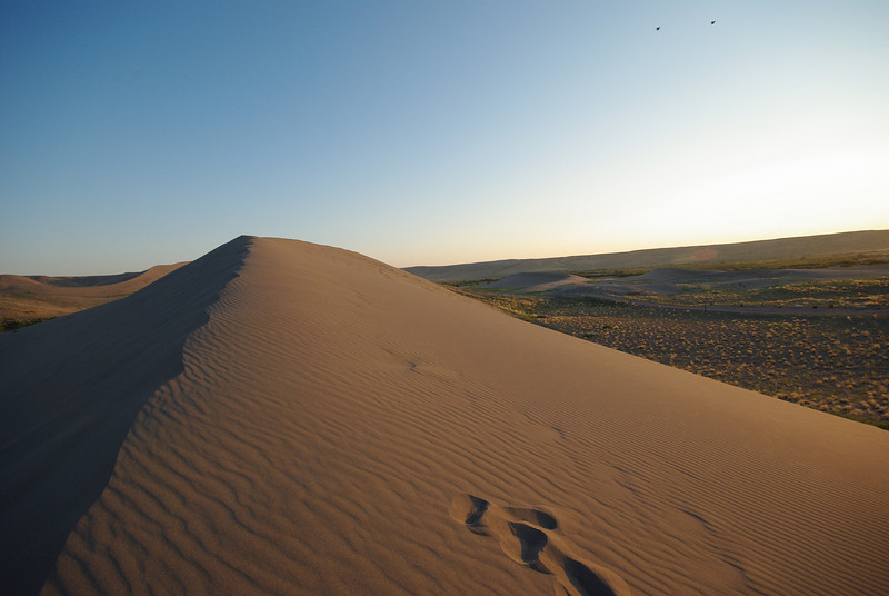 Bruneau Sand Dunes, Idaho. Two fighter jets at upper right.