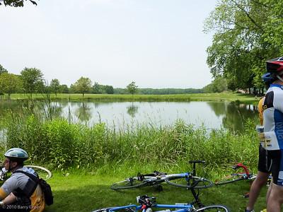 Enjoying lunch around the pond.