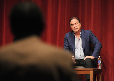 "Not being able to shake the caricature of provocateur-filmmaker became ""a bore,"" Stone told a packed audience in the Bart Luedeke Center. ""You make more movies, you work hard, you refresh yourself and you get dragged back to the cliché."""