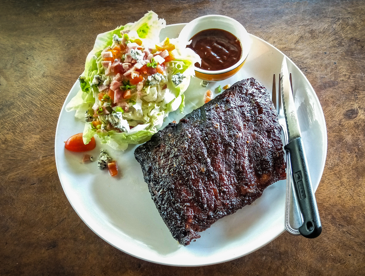 400gm Spare Ribs BBQ Sauce with Wedge and Blue Cheese.jpg