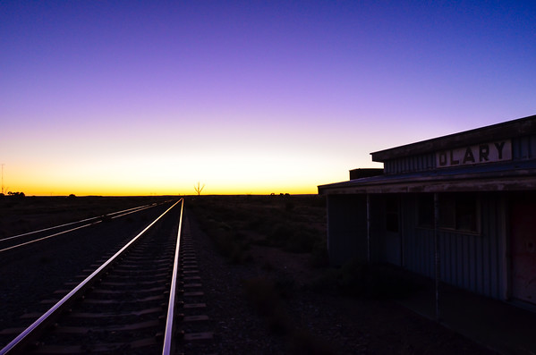 Dawn at Olary station, on the way to the Tony Kirby Memorial ride at Arkaroola in 2011