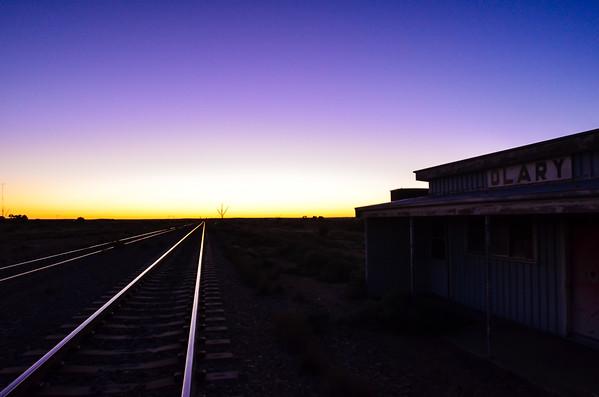 Dawn at Olary station, on the way to the Tony Kirby Memorial ride at Arkaroola in 2011