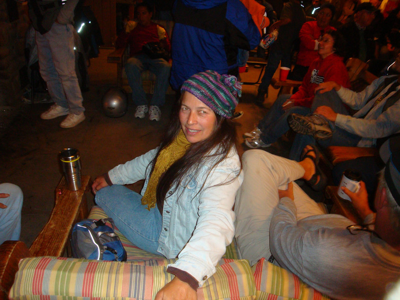 25th Annual Bavarian Mountain Weekend (BMW) Rally @ Sipapu - 2009-09-12...Saturday afternoon inside the lodge with coffee and beer flowing and tales of the trails being shared.  Claire keeping warm with her newly knitted hat.