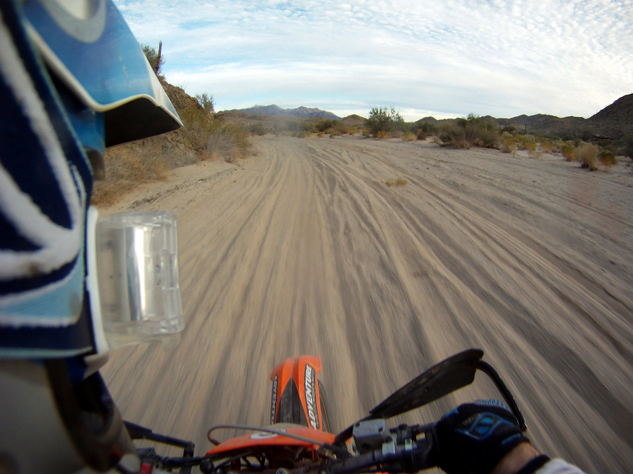 fast sand/silt at the end of the wash