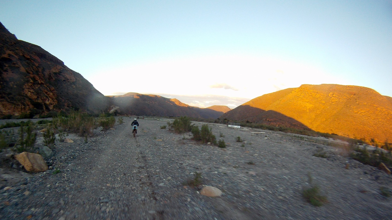back onto the baja course as the sun sets