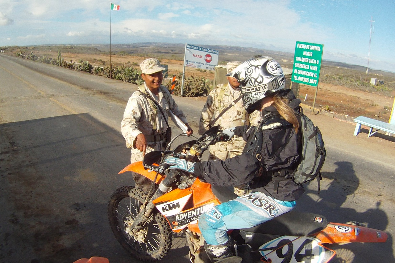 at a checkpoint outside El Rosario the federallis were asking sara if she could wheelie