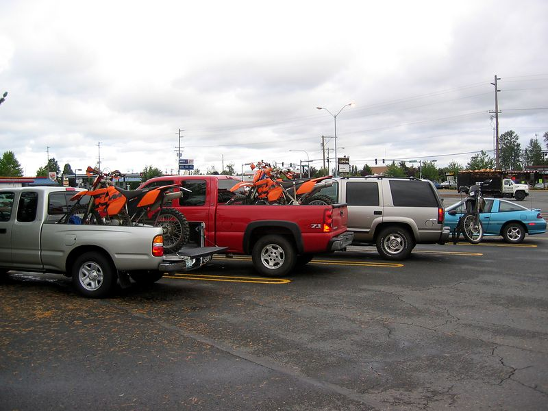 parking lot of enumclaw safeway. Lorne's toy, my truck, and tony's rig. colin and drew arrived shortly after