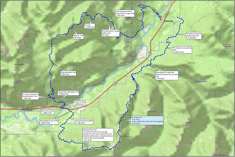 Loop from snyder to behind mill, to johnson ck, to dry ck, to pompey, to davis mountain, and back to packwood