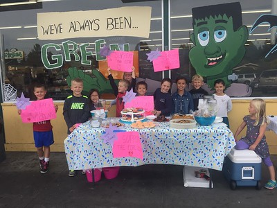 Mike Richards -- contributed Ridgewood Elementary School students, from left to right, Charlie Hinton, Henry Hinrichs, Kaiya Wolven, Owen Gabbert, Peyton Graney, Ethan Wolven, Zoey Bazzano, Isabella Acorn, Brayden Bermers, Sophia Acorn, and Blayke Bermers sell lemonade and baked goods in front of Murphy's Market in Cutten to raise money for families and staff members of Santa Rosa City Schools who were affected by the ongoing fires.