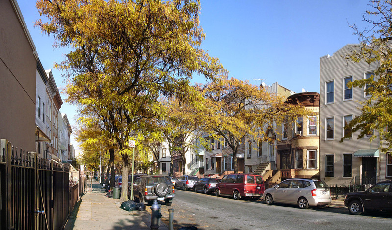 Looking north up Greene towards St Nicholas Avenue from the northwest corner of Greene and Wyckoff.