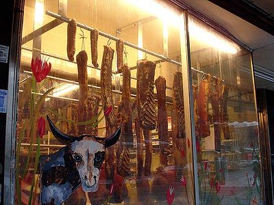 Genuine smoked bacon is sold here.  By the way, that starey-eyed steer looks dangerous to me. 2005.