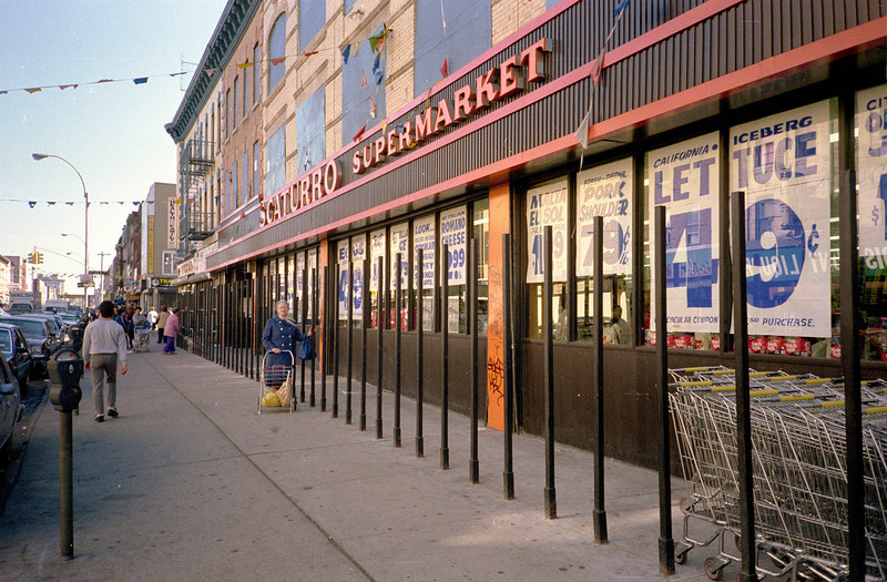 There was a Scaturro's on Knickerbocker as far back as 1955, and of course probably earlier.  The bars prevent people from making off with shopping carts.  I remember a time when such measures were totally unnecessary.