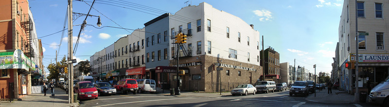 Taken on the northwest corner of Wyckoff and Greene Avenues.  On the left, you are looking east down Wyckoff Avenue; on the right, south down Greene.  (Panorama composed of six separate frames.  Stitching done with Panavue Image Assembler, version 3.5.0.37164.)