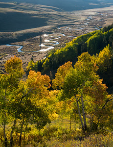 The East River meanders through the valley between Gothic and Mt. Crested Butte.